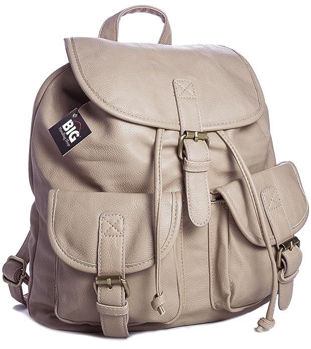 c515bcce32 6 opinioni per Big Handbag Shop- Zainetto da viaggio in pelle sintetica,  stile vintage