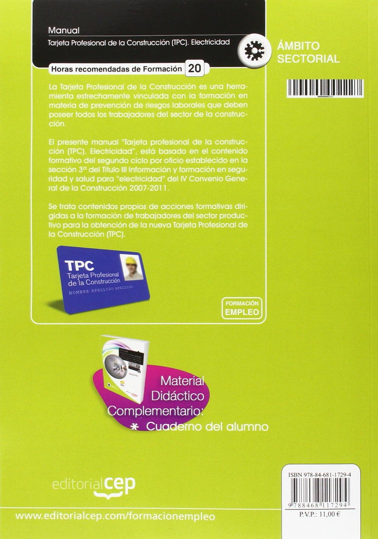 Manual Tarjeta Profesional de la Construcción TPC . Electricidad ...
