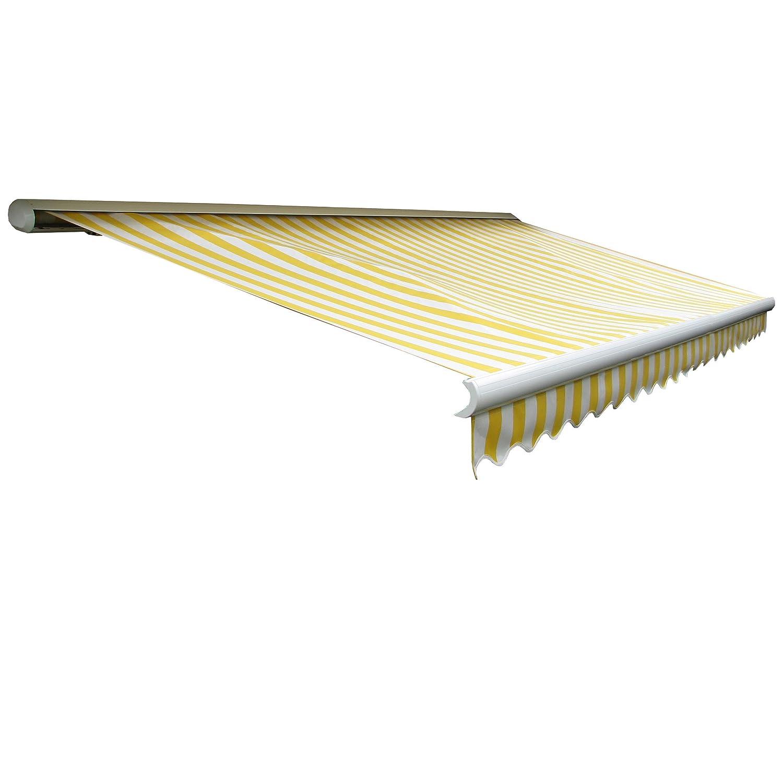 Elektrische Kassettenmarkise T123, Markise Vollkassette mit Volant 4,5x3m ~ Acryl Gelb/Weiß