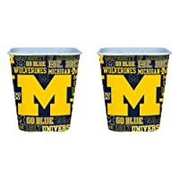 NCAA Michigan Wolverines 3 Liter Reusable Plastic Snack Bucket 2 Pack