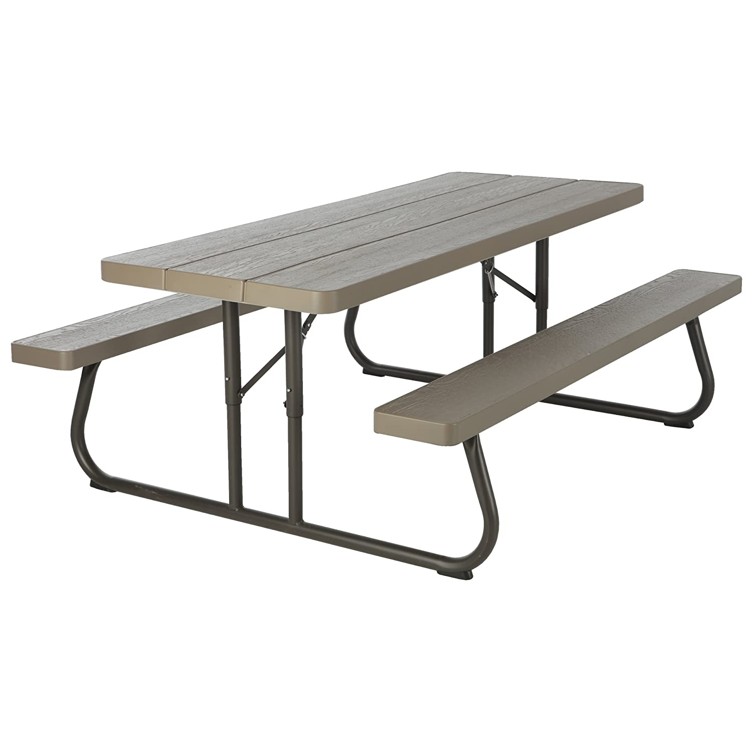 amazoncom lifetime wood grain picnic table and benches 6 feet brown patio lawn u0026 garden