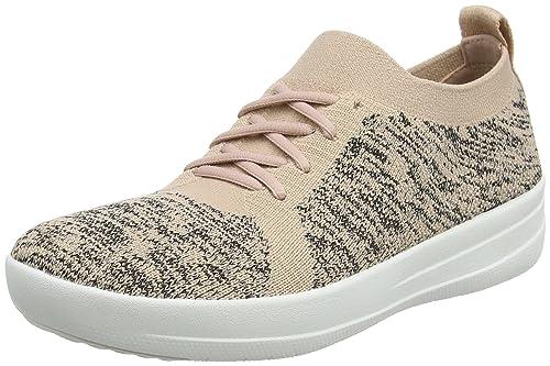 Uberknit Slip-On Sneakers, Zapatillas Altas para Mujer, Multicolour (Neon Blush/Urban White), 39 EU FitFlop