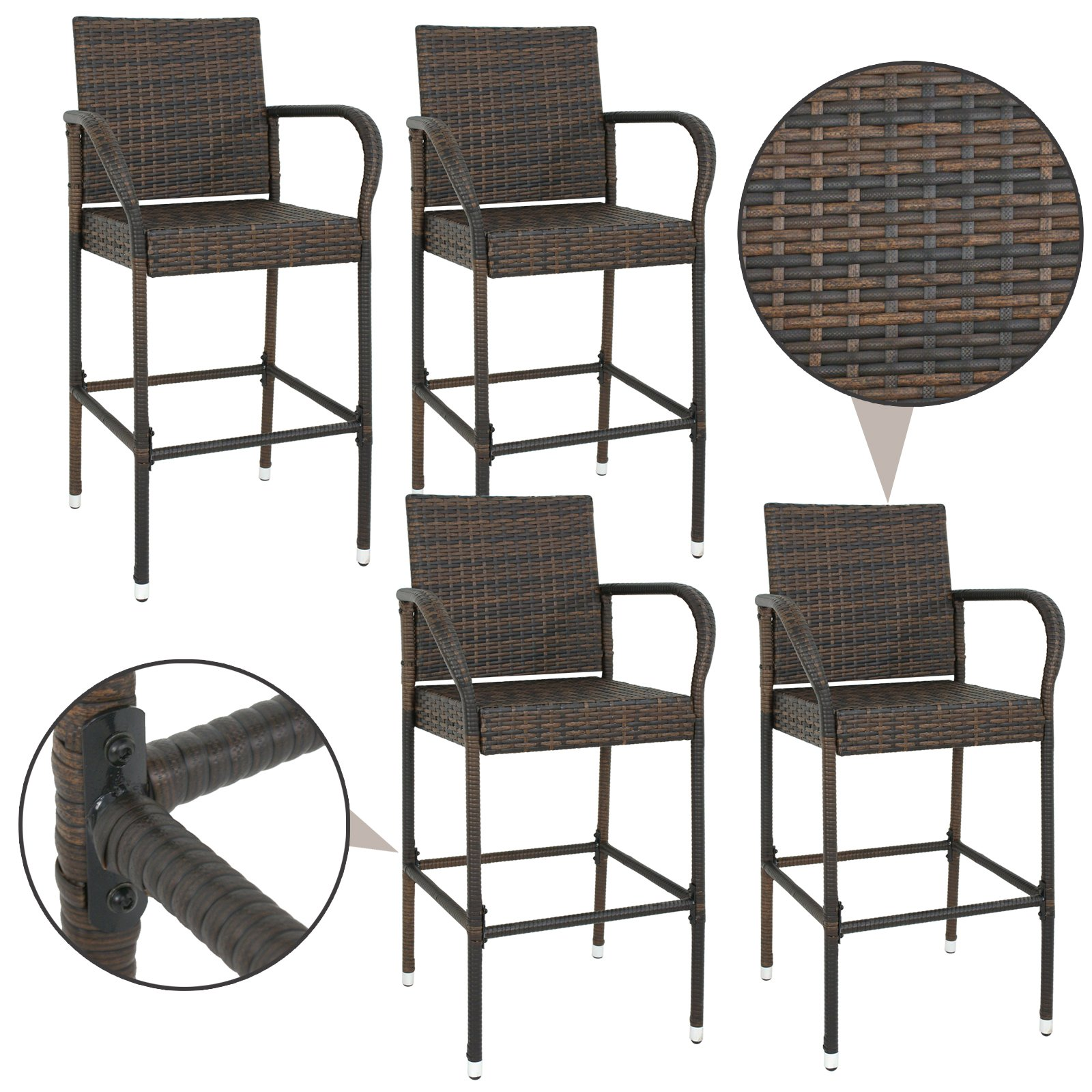 SUPER DEAL Wicker Bar Stool Outdoor Backyard Rattan Chair Patio Furniture Chair w/Iron Frame, Armrest and Footrest, Set of 4 by SUPER DEAL (Image #2)