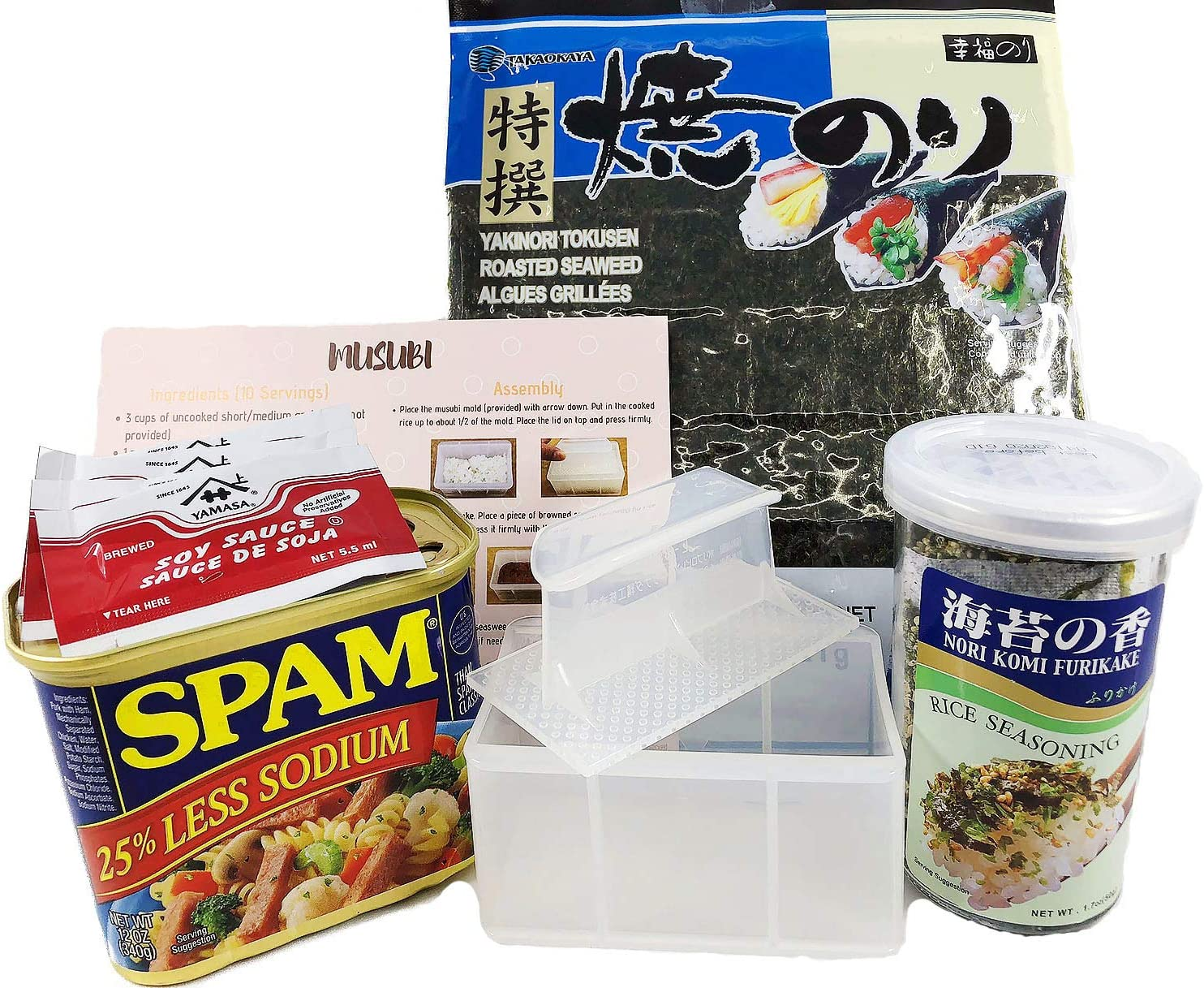 Hawaiian Musubi Making Set (Musubi Maker, SPAM, Nori Seaweed, Furikake, Soy Sauce & Instruction)