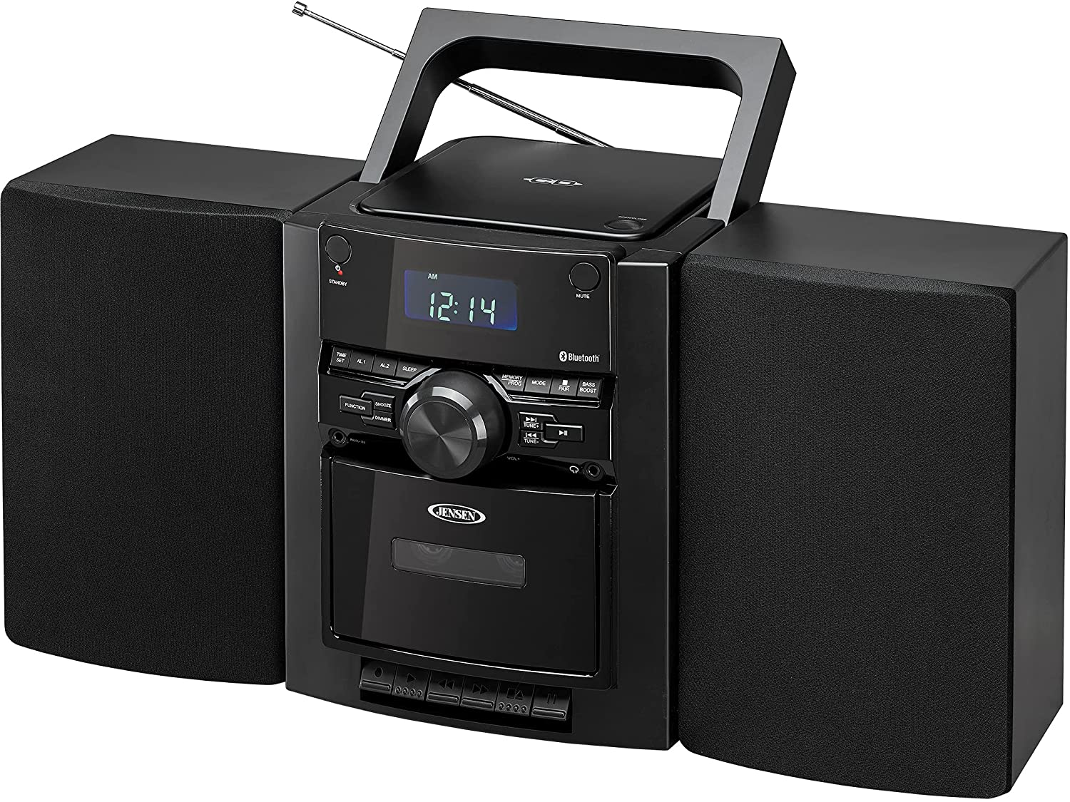 JENSEN CD-785 Portable Bluetooth CD Music System with Cassette and PLL AM/FM Radio