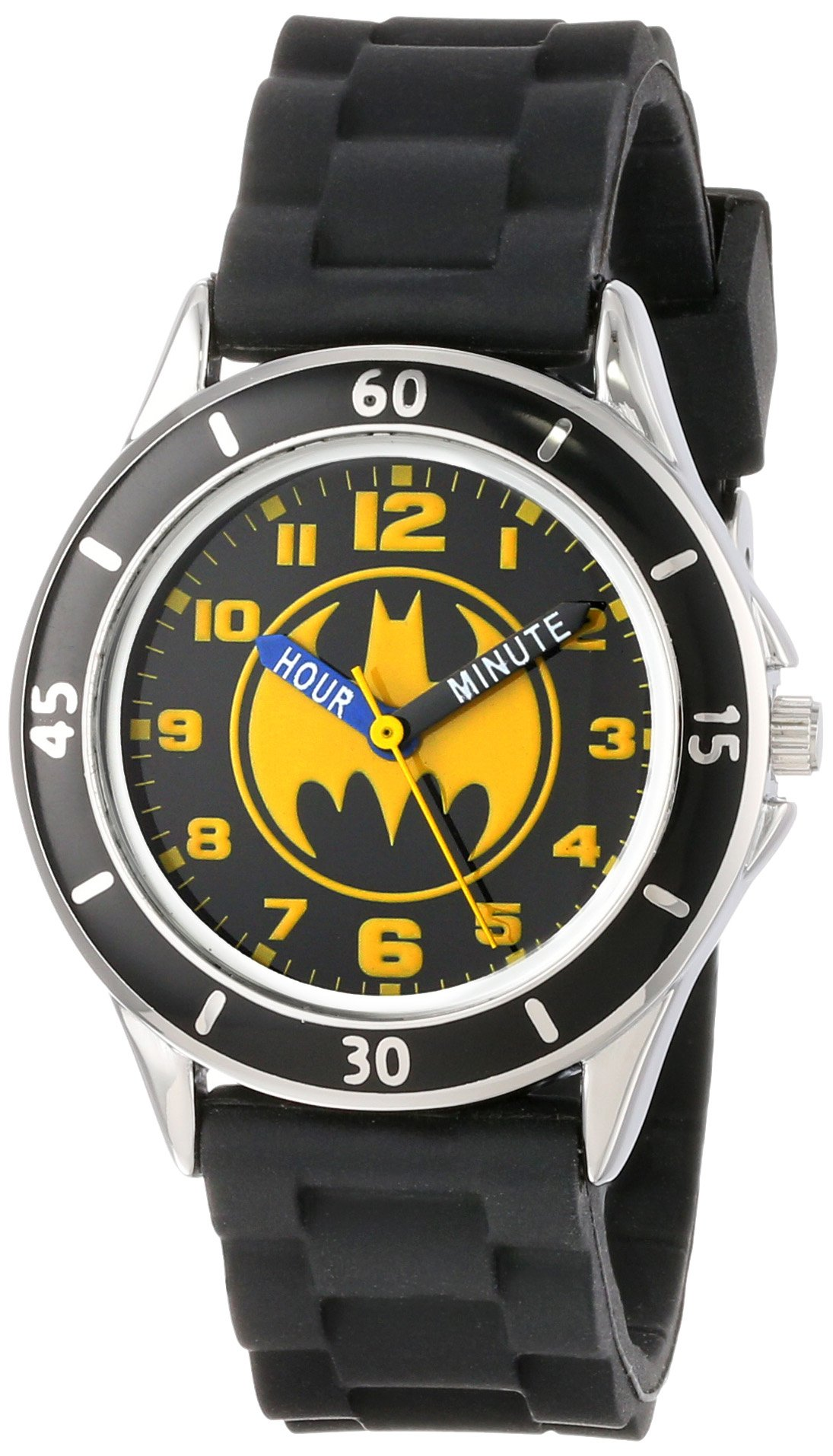 Batman Kids' Analog Watch with Silver-Tone Casing, Black Bezel, Black Strap - Official Yellow/Black Batman Logo on The Dial, Time-Teacher Watch, Safe for Children - Model: BAT9152 by DC Comics