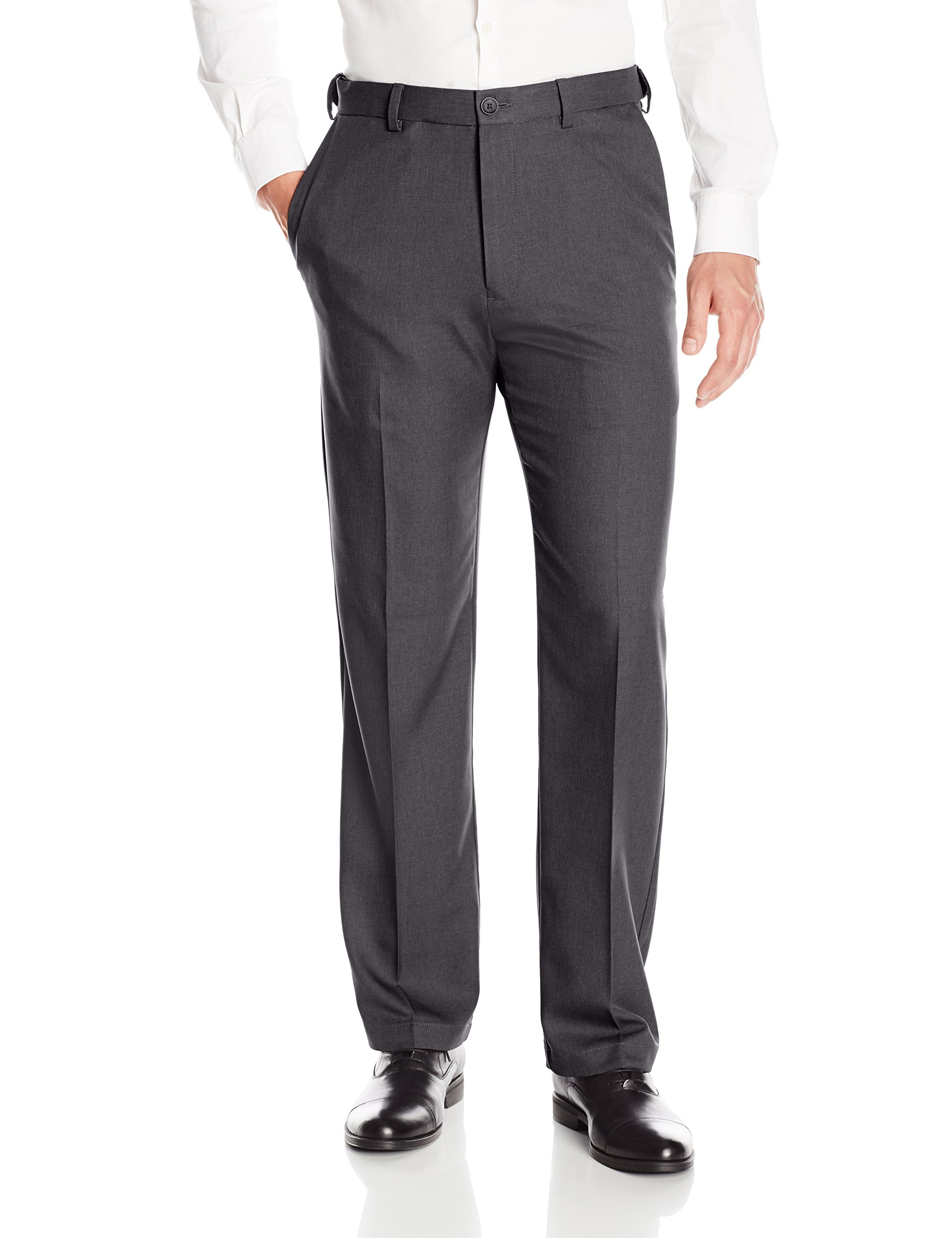 Haggar Men's Cool 18 PRO Classic Fit Flat Front Expandable Waist Pant, Charcoal Heather, 48Wx34L