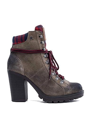 852fcf6cc15 REPLAY Women s Moore High Heel Suede Boots Beige  Amazon.co.uk ...