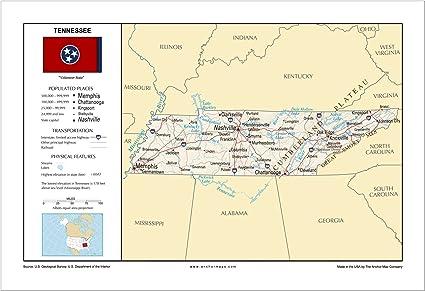 13 x 19 de Tennessee mapa mural de referencia general – Anchor ...