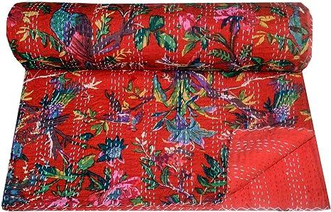 Red Cotton Kantha Quilt Indian Patchwork Kantha Blanket Hand Stitched Kantha Bedspread Queen Size Reversible Kantha Throw