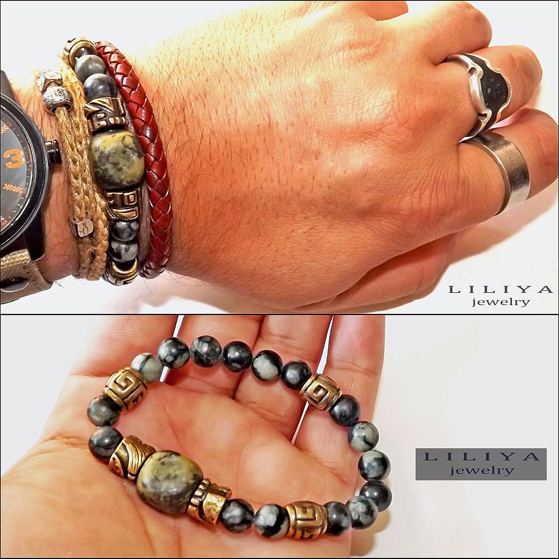 Beaded Bracelet - Unisex Ethnic Bracelet with Black/Green Jasper Real Gemstones