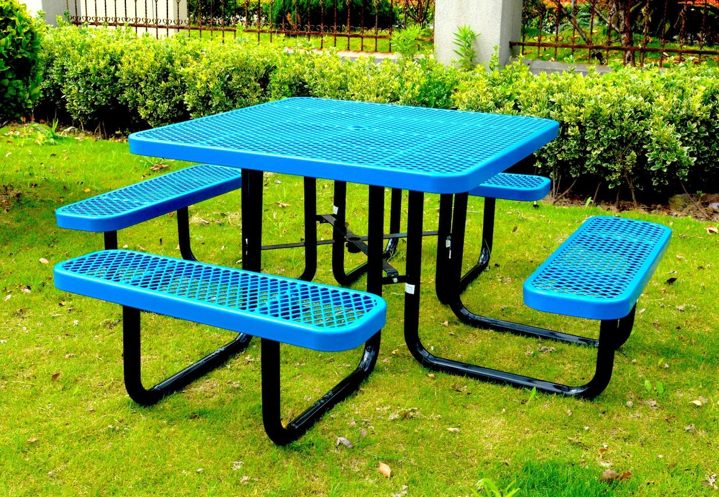 Lifeyard 46 Expanded Metal Square Picnic Table, Blue