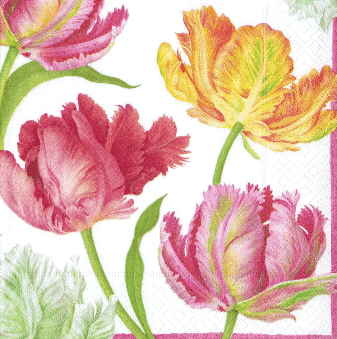 Entertaining with Caspari Tulip Dance Cocktail Napkins, Pack of 20 Caspari Inc. 11750C