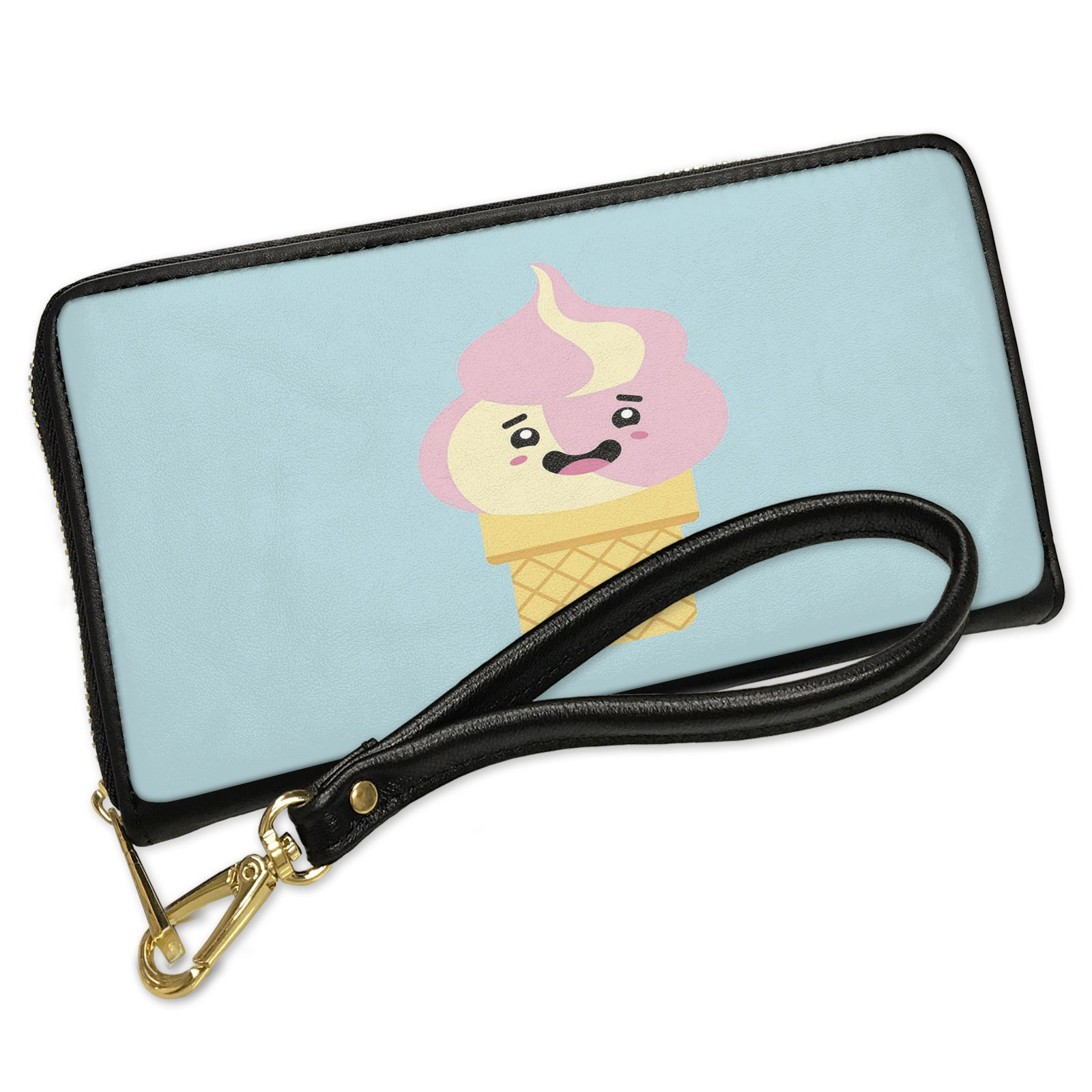 Wallet Clutch Strawberry, Vanilla Swirl Ice Cream Cone Cute, Japanese Kawaii Food with Face with Removable Wristlet Strap Neonblond
