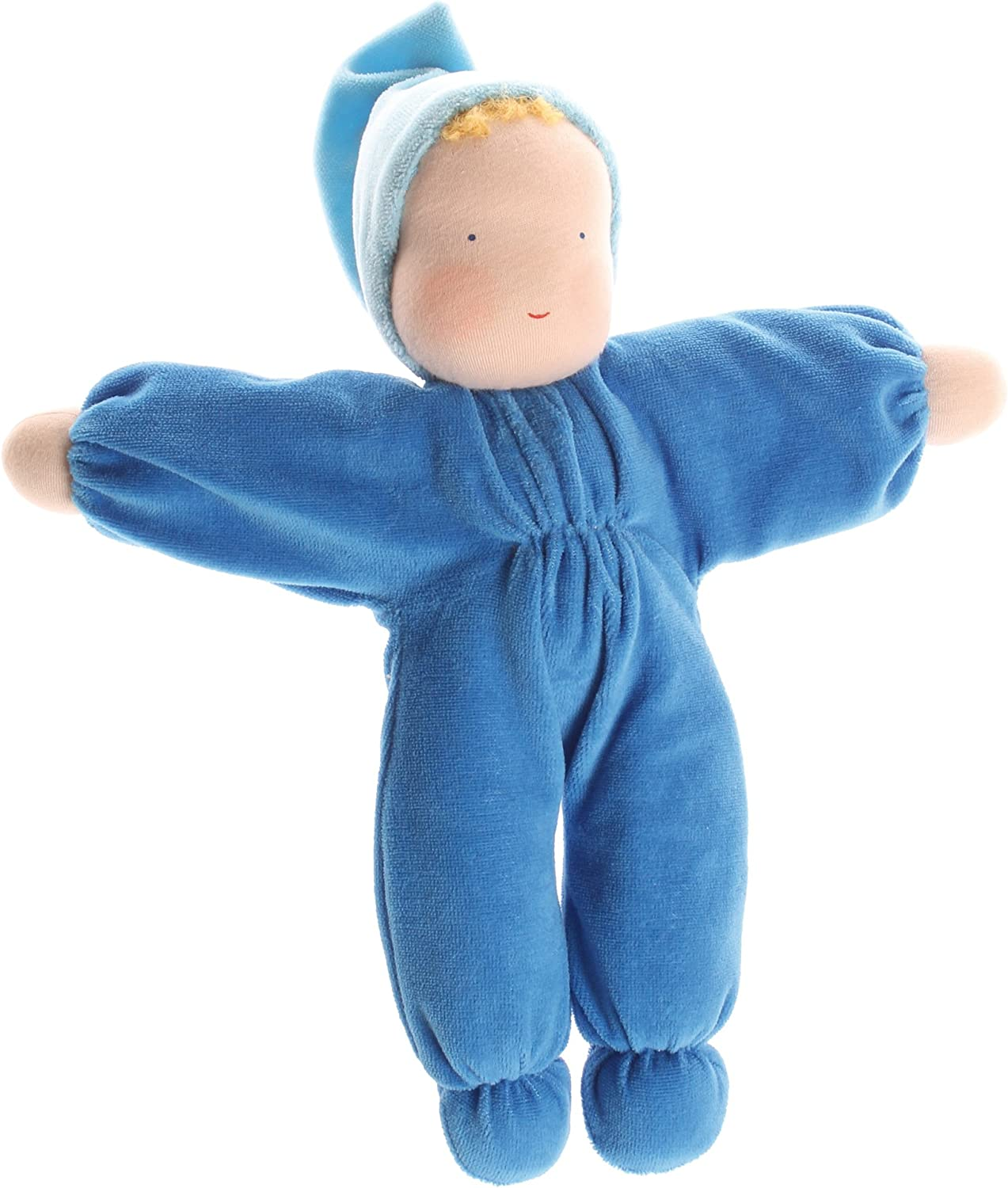 B001MRZYK6 Grimm's Soft Cuddle Baby Natural Waldorf Doll, Blue 81bIMcCfS4L