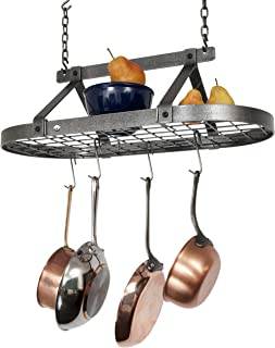 product image for Handcrafted Oval Hanging Pot Rack w 12 Hooks Hammered Steel