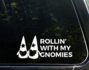 """Vinyl Productions Rollin' with My Gnomies - 8-3/4"""" x 3-1/2"""" - Decal Sticker for Windows, Bumpers, Laptops, Glassware etc."""