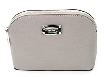 ee04b17a4872 Amazon.com  Michael Kors Cindy Small Travel Cosmetic Pouch Saffiano Leather  Pearl Grey  Beauty