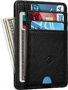 Black Front Pocket Wallet, Fintie Slim Leather Card Holder RFID Blocking Card Slot Cases for Men