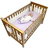 Safe Dreams - Paracolpi per lettino, 4 lati, superficie 100% cotone organico, Bianco (White)