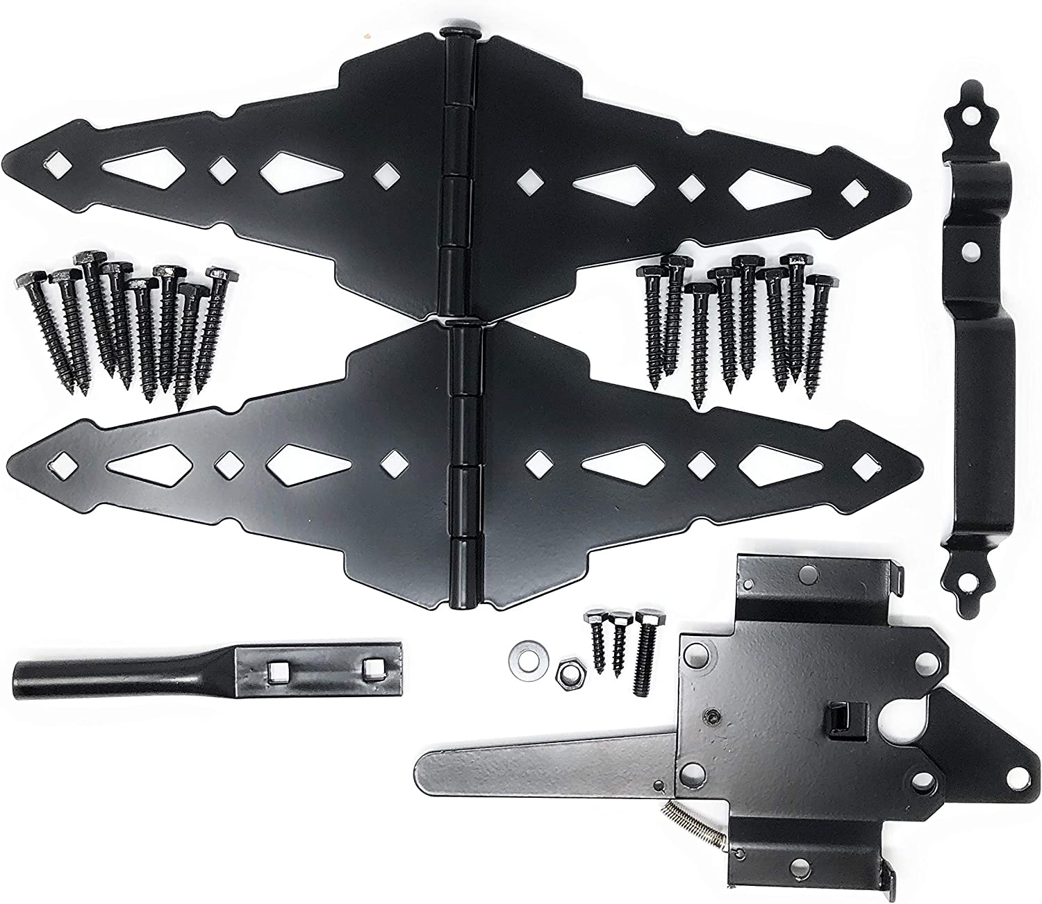 "Wood Gate Hardware Set – Heavy Duty Kit for Fence Swing Gate- Outdoor Decorative Black Finish w/ 8"" Strap Hinges and Spring Loaded Latch"