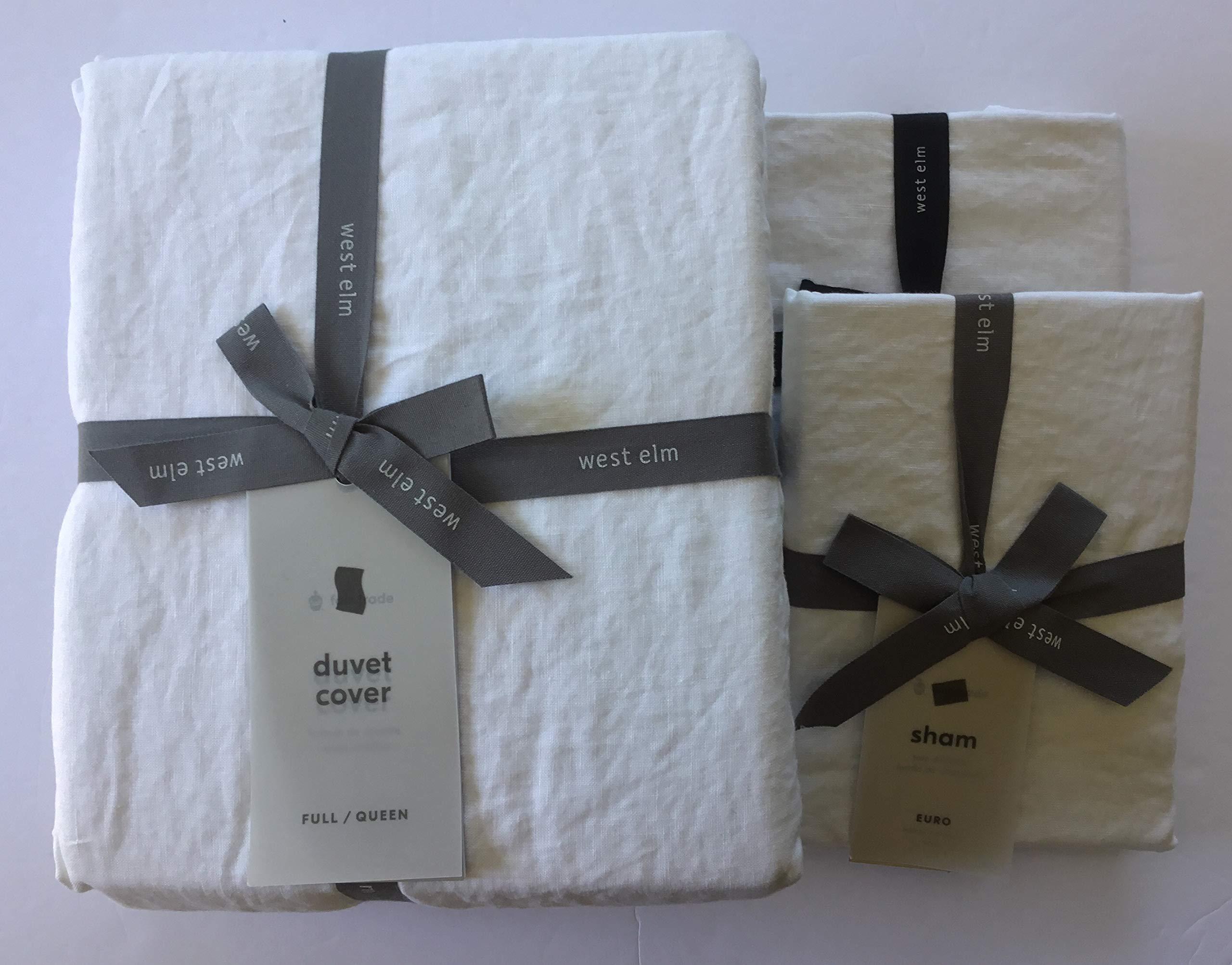 West Elm Belgian Linen Duvet Cover Full/Queen & Two Euro Shams~White~
