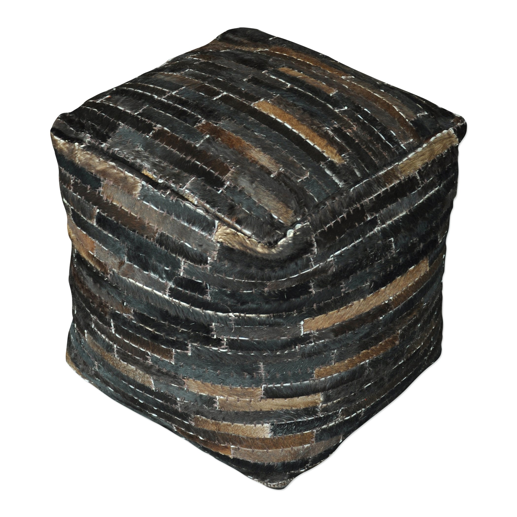 Hair Hide Patchwork Leather Cube Pouf   Dark Brown Strips Ranch Seat Square