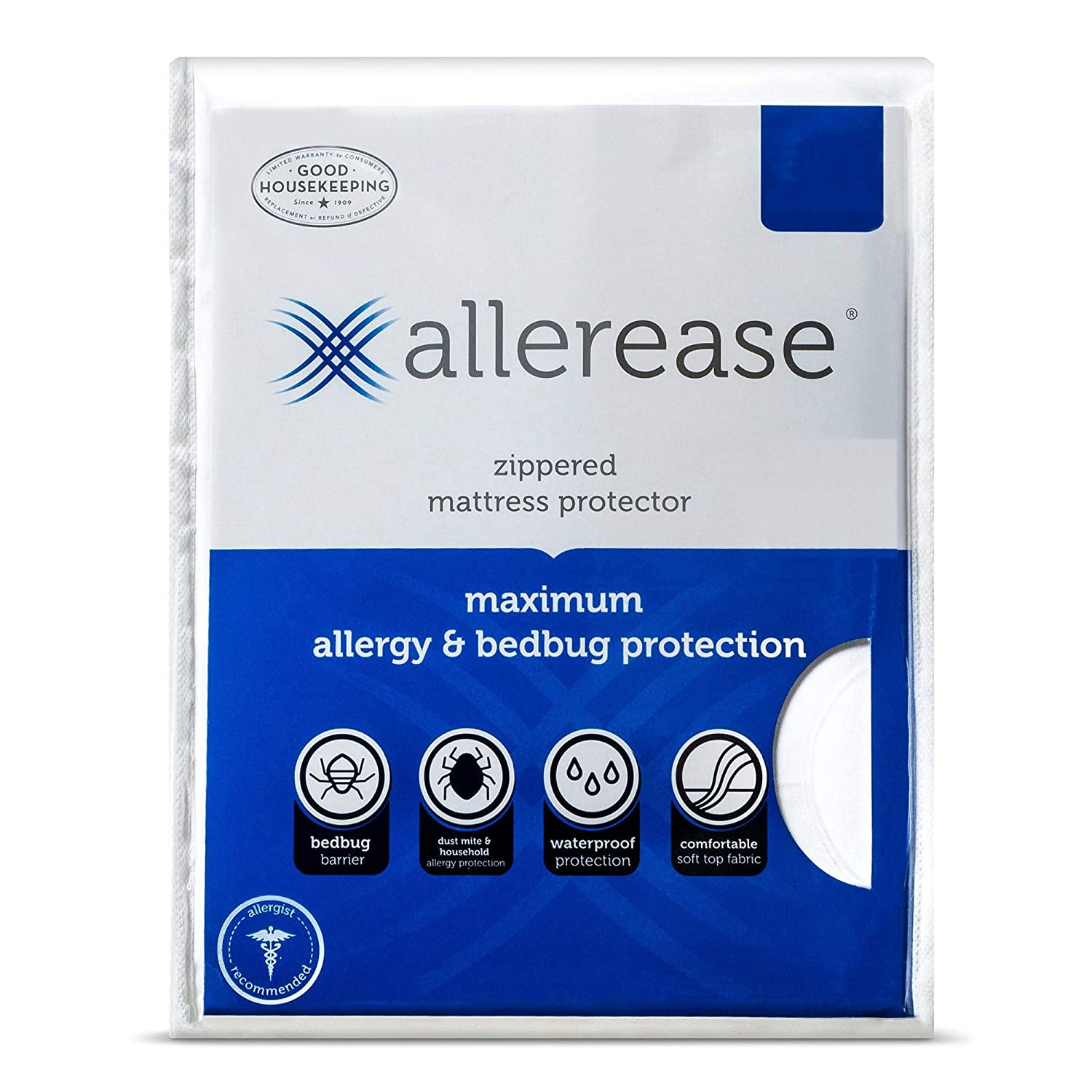 AllerEase Maximum Waterproof, Allergy and Bedbug Zippered Mattress Protector, Twin XL