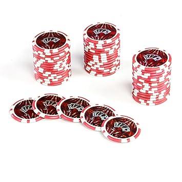 50 Poker Chips Laser Chips Ocean Champion Chip Wert 5 12g Metallkern Poker Texas Holdem Black Jack Roulette Kanten Abgerundet Rot