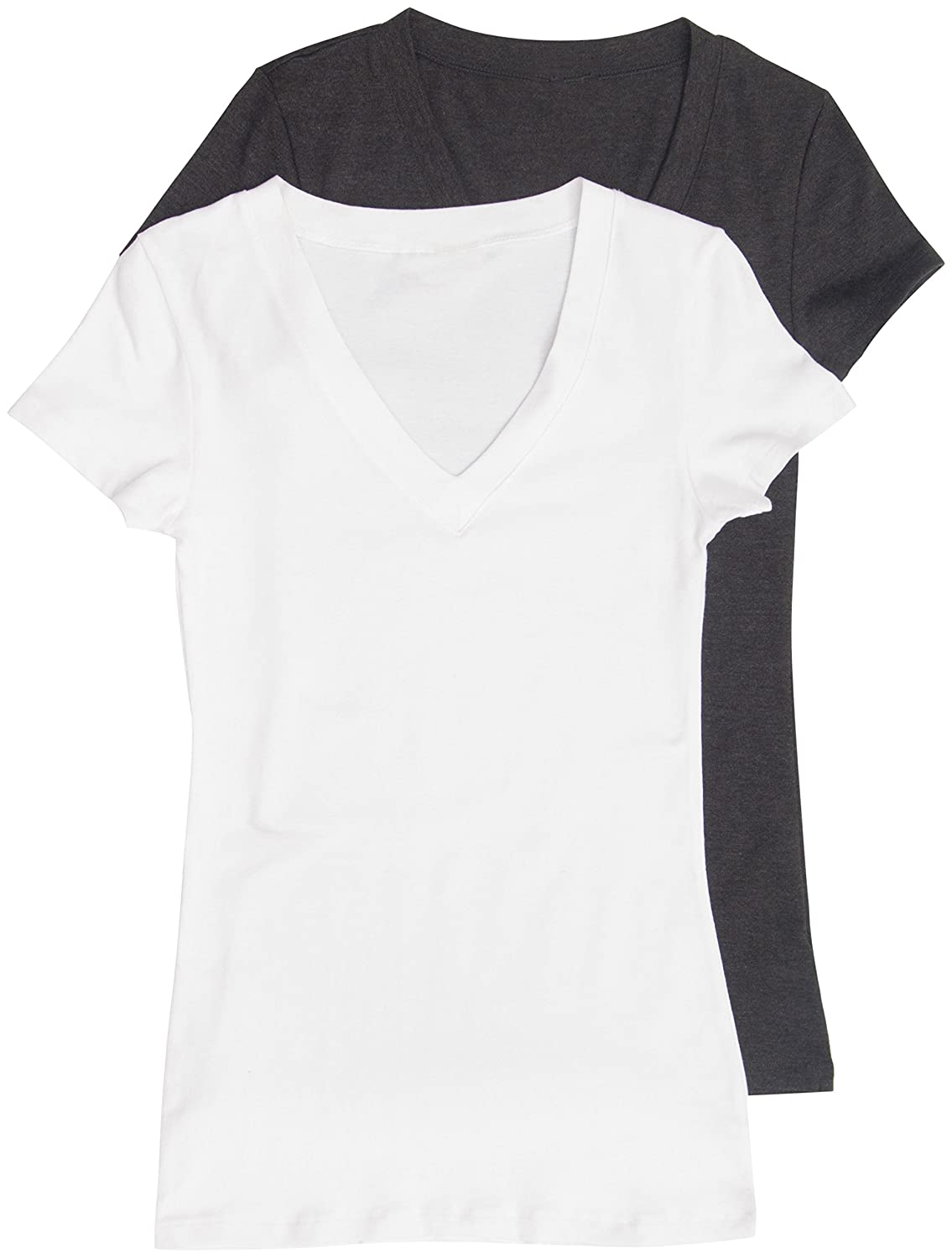 2 Pack Zenana Women's Basic V-Neck T-Shirts
