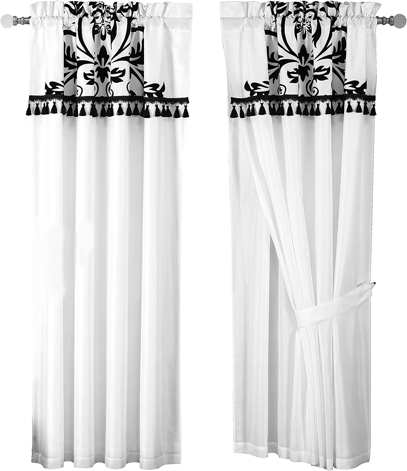 Chezmoi Collection 2 Panel Black And White Floral Window Curtain Drape Set With Valance Treatment Drapery Home Kitchen