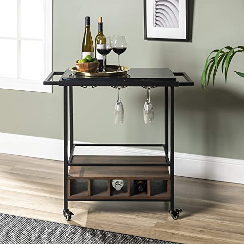 Walker Edison Furniture Company Wood Bar Serving Cart with Wheels Wine Glass and Bottle Kitchen Storage, 34 Inch, Black Marble
