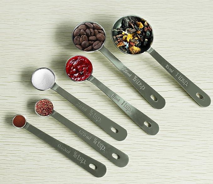 Unigear Cucharas Medidoras Tazas Medidoras con Regla de Medición Acero Inoxidable Alta Precisión para Ingredientes Líquidos Secos Cocinar Hornear ...