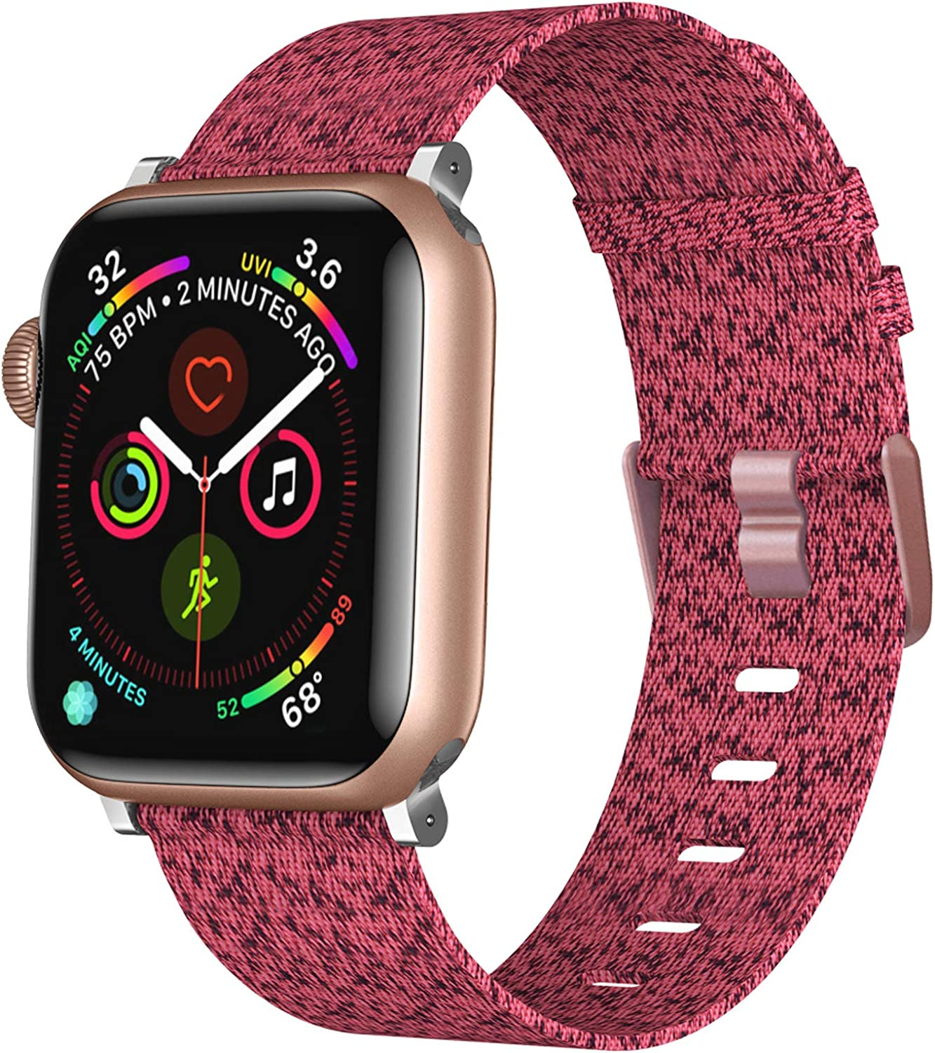 XIMU Bands Compatible with Apple Watch Band 38mm 40mm 42mm 44mm, Soft Woven Fabric Replacement Band Quick Release Watch Strap Wristbands Accessories Women Men for iWatch Series 4/3/2/1