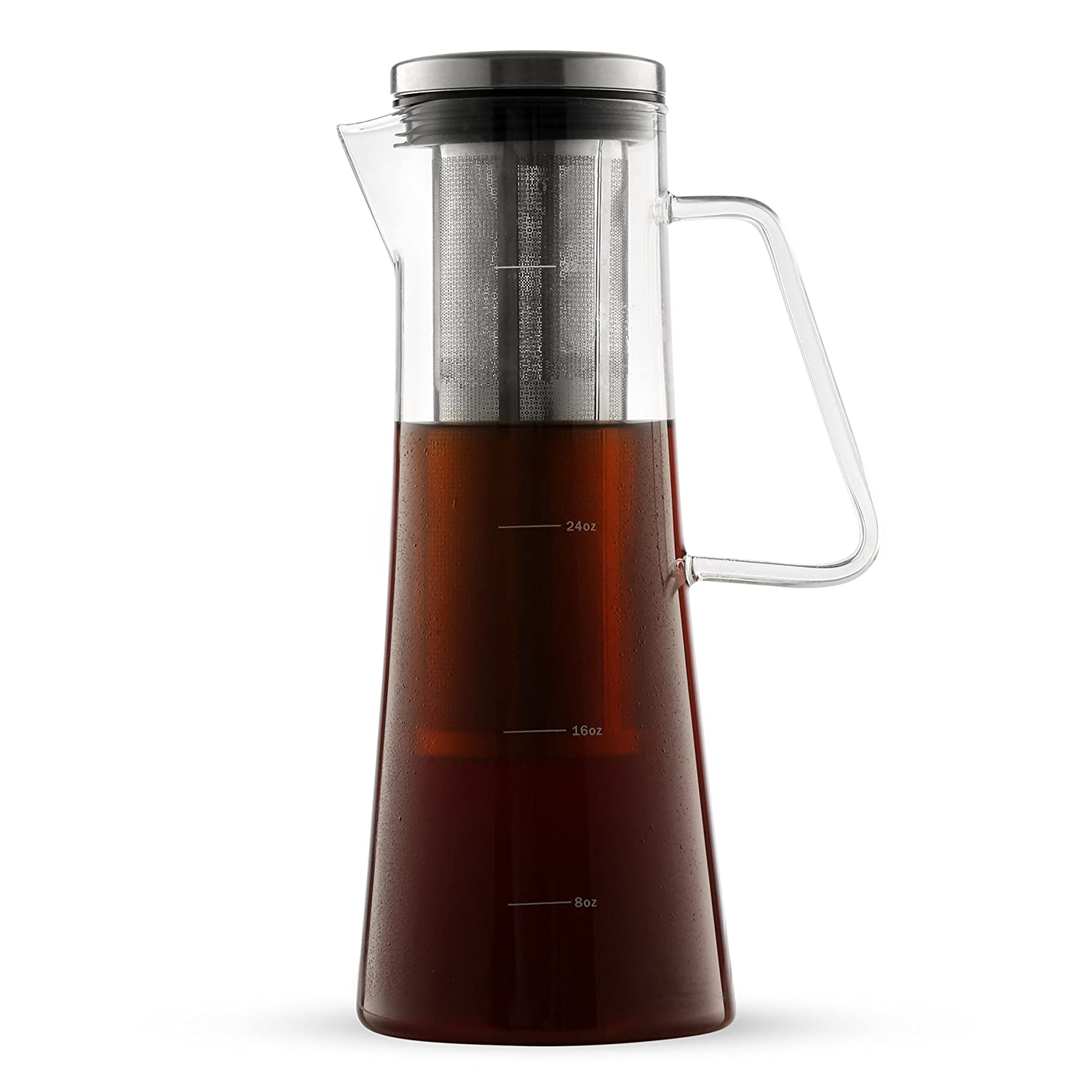 Cold Brew Coffee Maker – Iced Coffee Glass Pitcher 32oz with Sealing Removable Filter