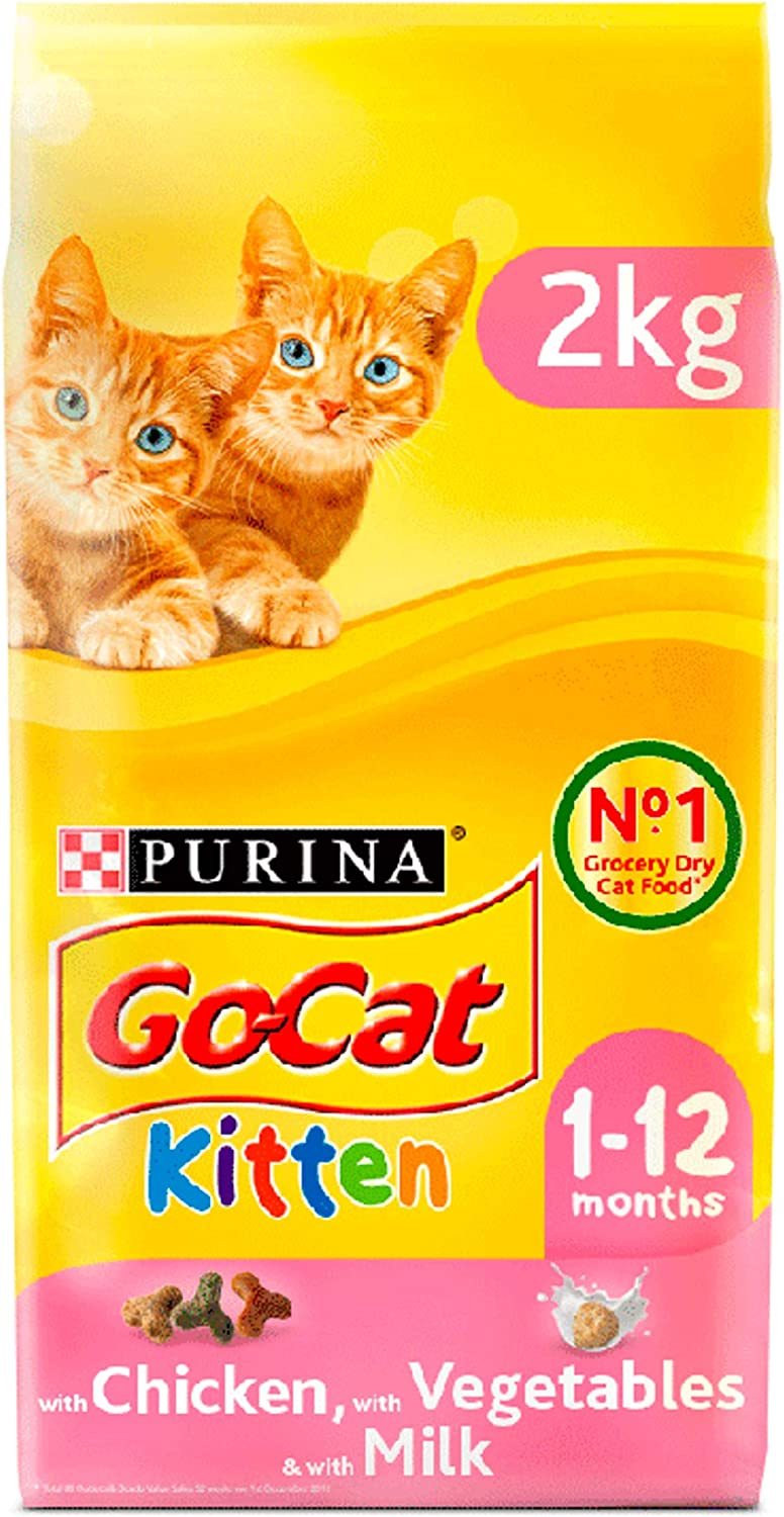 Purina Go Cat Kitten With Chicken With Milk And With Vegetables Dry Cat Food 4 X 2kg 8 Kg Amazon Co Uk Pet Supplies