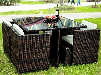 Merax 9 pcs Patio meubles Salon de jardin extérieur Patio ...