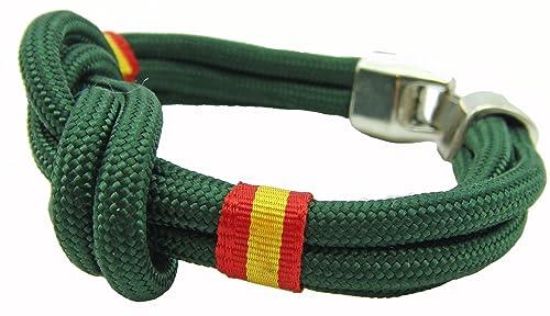 Pulsera España Nudo doble Verde / 3 medidas / cinta bandera de España en laterales