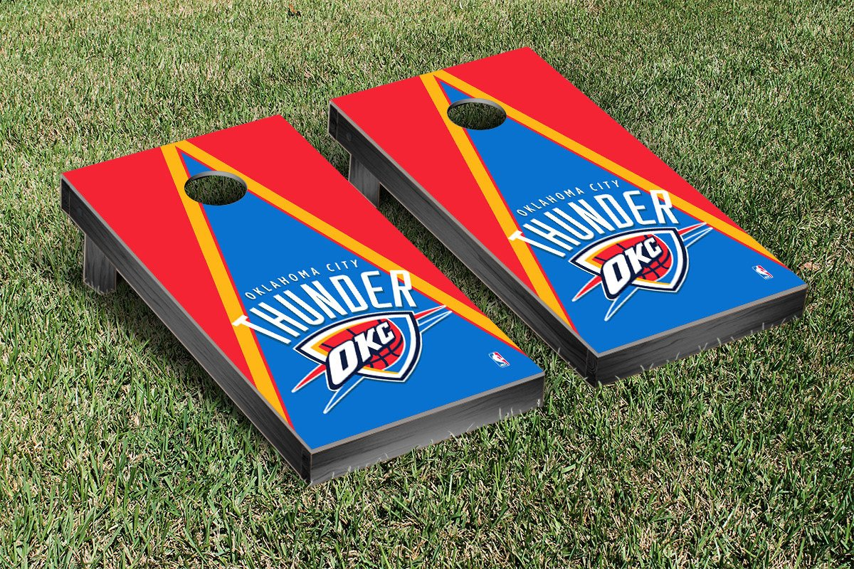 Oklahoma City Thunder NBA Basketball Cornhole Game Set Triangle Version by Victory Tailgate