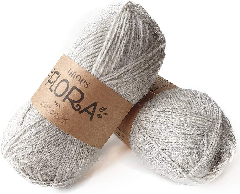 Drops Brushed Alpaca Silk 03 Grey Light and Warm 1.8 oz 153 Yards per Ball Fluffy Superfine Alpaca and Silk Yarn