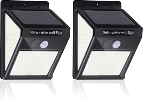 Solar Outdoor Lights, Solar Motion Sensor Powered Light 140 LED with 3 Working Mode , IP 65 Waterproof Solar Powered Wireless Lights Wall Light for Garden, Fence, Patio and Garage 2 Pack