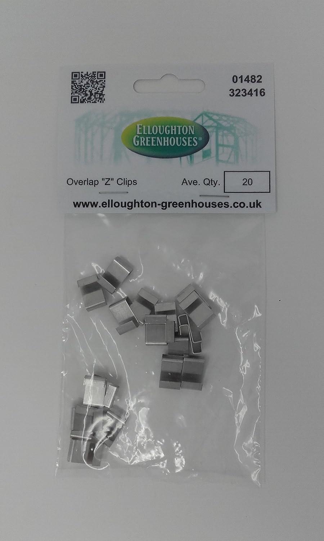20Aluminium Z Clips Serre chevauchement Vitrage Clips, verre espaceurs Elloughton Greenhouses®