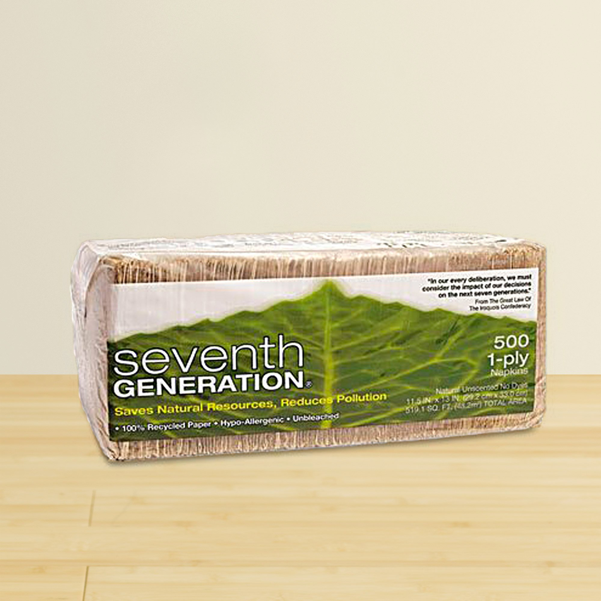 Seventh Generation Lunch Napkins, Natural, 1-Ply Sheets, 500-Count Packages (Pack of 12) by Seventh Generation (Image #1)
