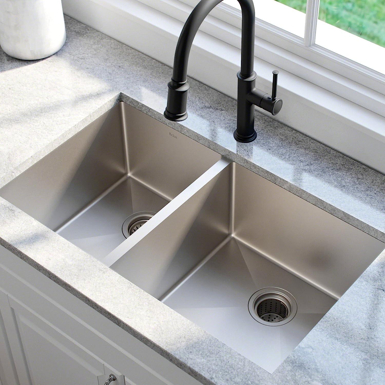 KRAUS Standart PRO 33-inch 16 Gauge Undermount 60/40 Double Bowl Stainless  Steel Kitchen Sink, KHU104-33