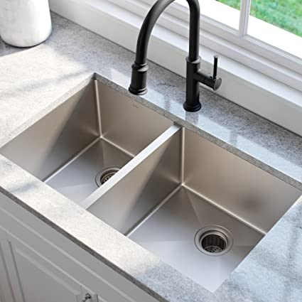 KRAUS Standart PRO 33-inch 16 Gauge Undermount 60/40 Double Bowl Stainless  Steel Kitchen Sink, KHU104-33