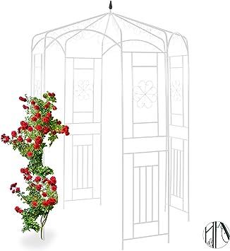 relaxdays Cenador de jardín, Soporte para trepadoras, Metal, 250x160x160 cm, Blanco: Amazon.es: Jardín