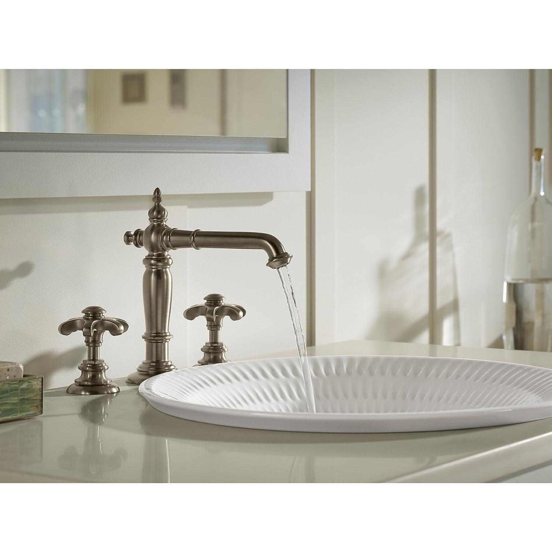 Vintage Nickel KOHLER K-98068-3M-VNT Artifacts Bathroom Sink Prong Handles with Less Spout