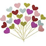 Bilipala Hearts Cake Cupcake Topper Picks For Wedding, Birthday, Baby Shower Party Decorations Supplies, 50 Counts
