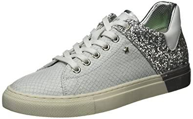 Womens Lolard Trainers, White Silver Replay