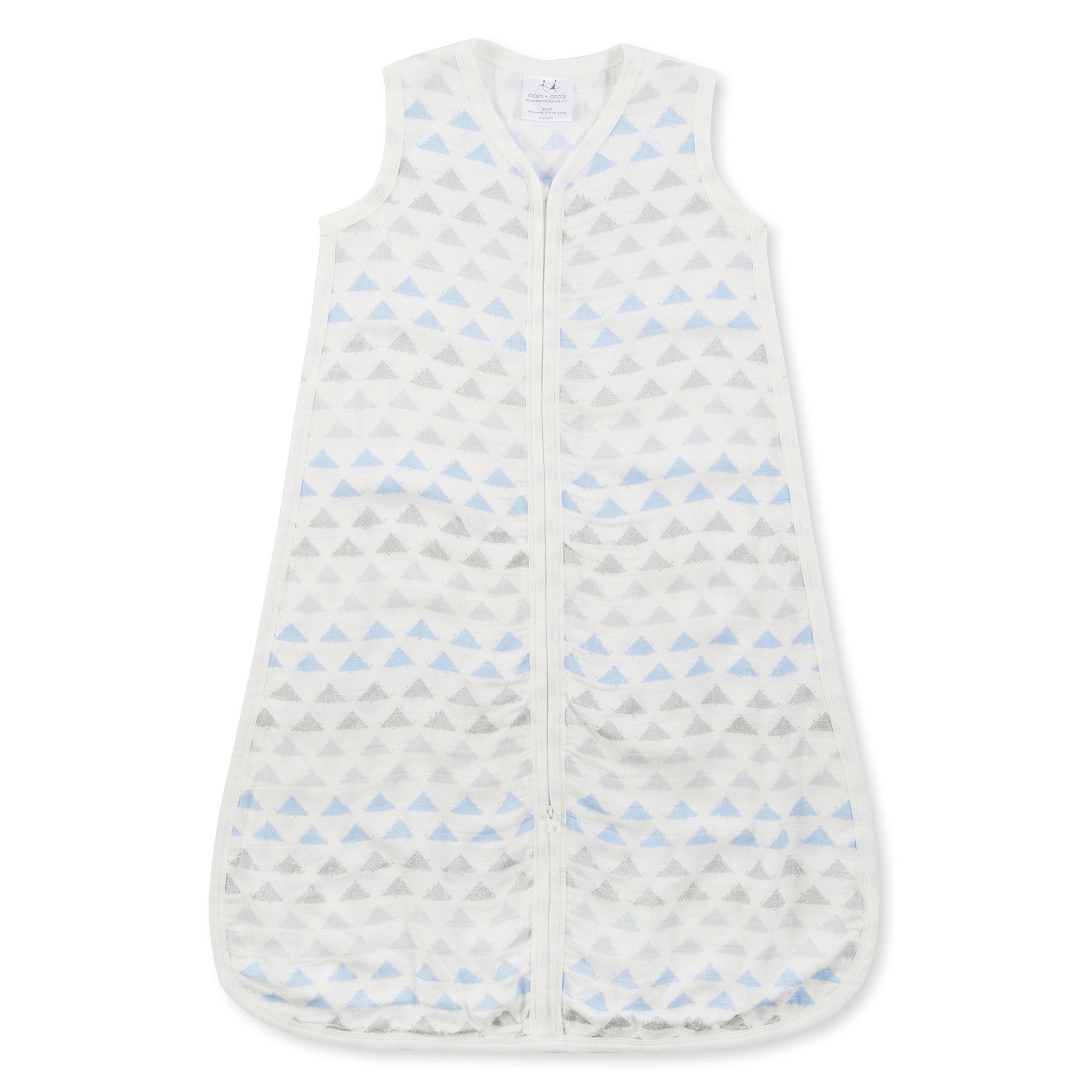 aden + anais Silky Soft Metallic Sleeping Bag; 100% Cotton Bamboo Muslin; Wearable Baby Blanket; Blue Moon Birch; Small; 0-6 Months